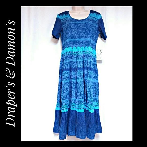 Draper's  & Damon's Dresses & Skirts - Draper's & Damon's Blue Smocked Top Dress  Size PM